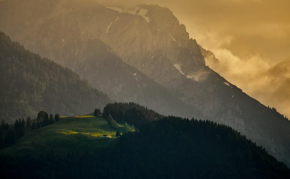 Landscape, Sunset, Evening, Mood, Wilderkaiser, Alm