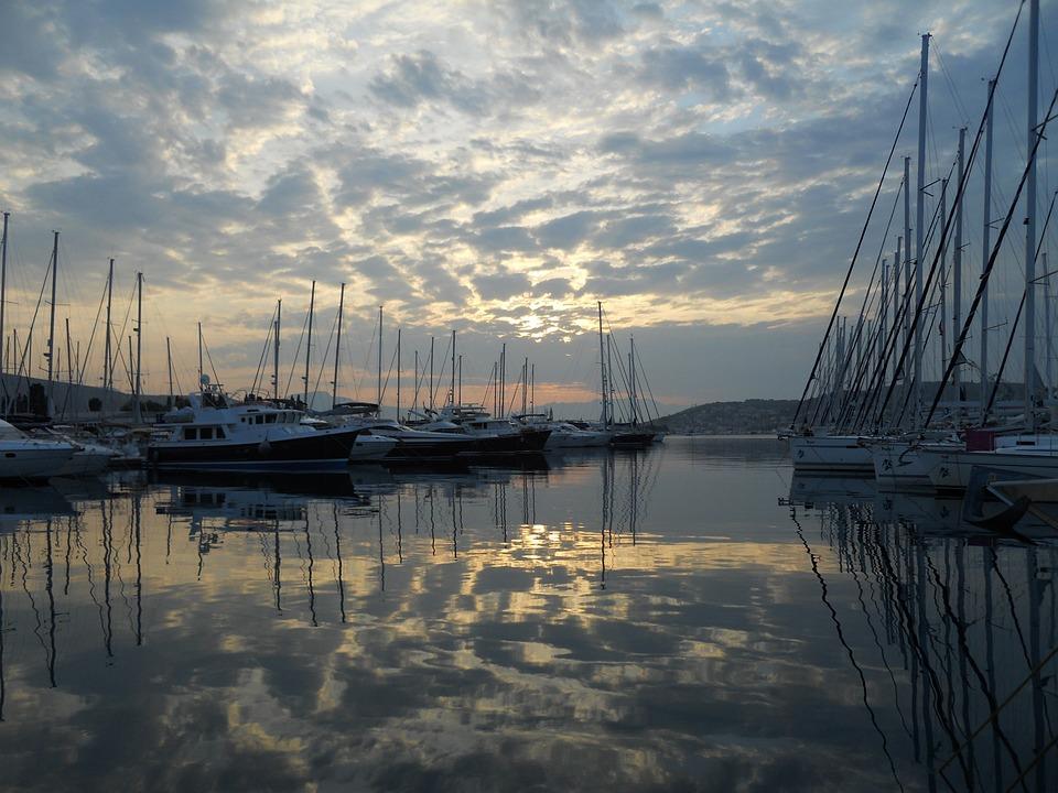 Port, Clouds, Water, Sea, Boats, Mood