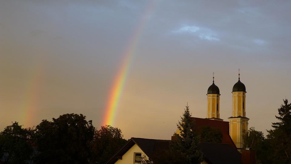 Rainbow, Rain, Spectrum, Church, Trees, Mood, Clouds