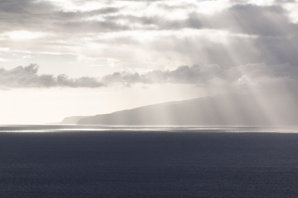 Clouds, Horizon, Sunbeam, Sea, Ocean, Mood, Blue