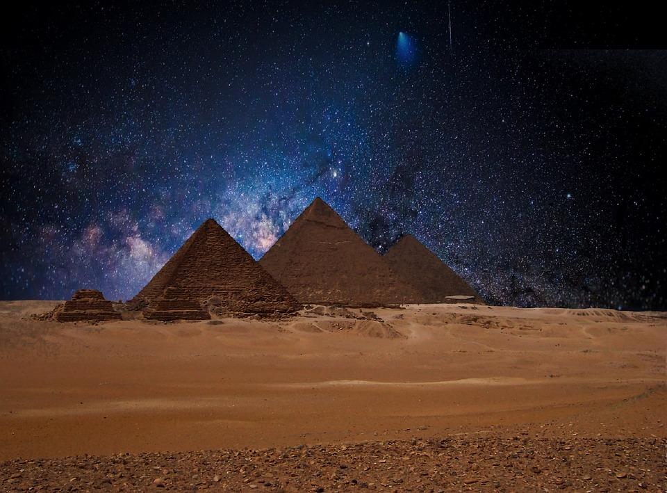 Star, Night Sky, Pyramids, Egypt, Starry Sky, Sky, Mood