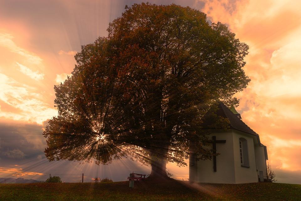 Sunset, Sunbeam, Chapel, Clouds, Sky, Mood, Evening Sky