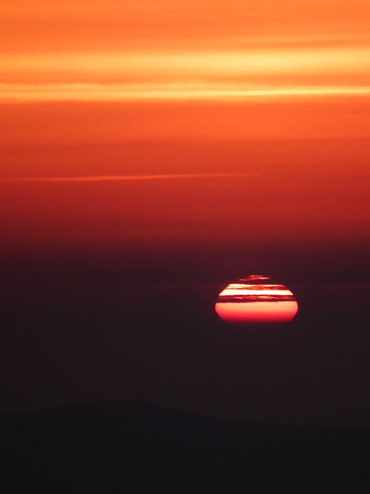 Sun, Evening, Sunset, Mood, Afterglow, Romantic, Red