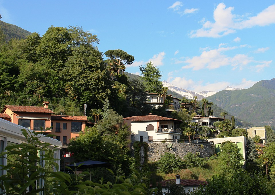 Orselina, Ticino, Mood, Homes, Nature, Mountains, Trees