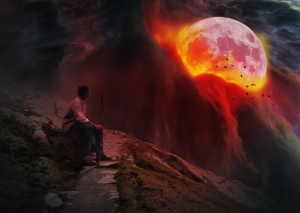 A Person, Flames, The Darkness, Moon, Abstract