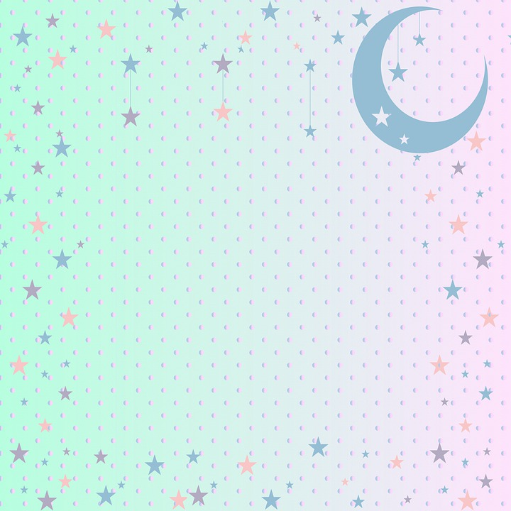 Moon And Star Background, Blue Mint, Pink, Mint, Peach