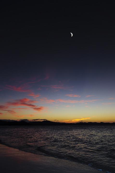 Landscape Beach Sunset Moon Night