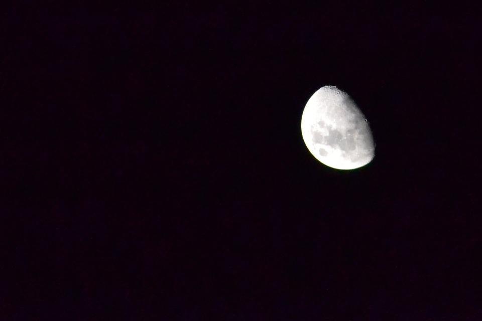 Moon, Midnight, Night, Black, Astronomy, Moonlight