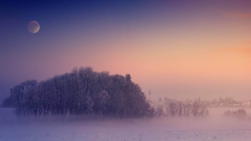 Winter, Fog, Morning, Cold, Village, Moon, Church