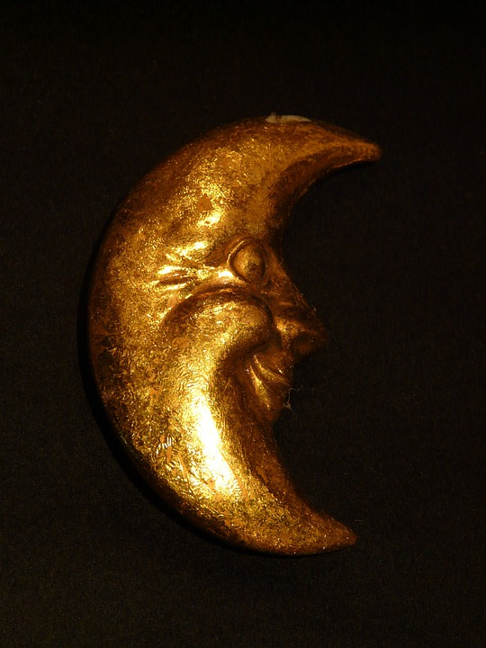 Moon, Golden, Crescent, Crescent Moon, Decor