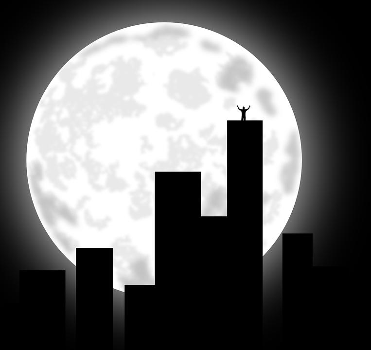 City, Moon, Buildings, Cityscape, Night, Evening, Dark