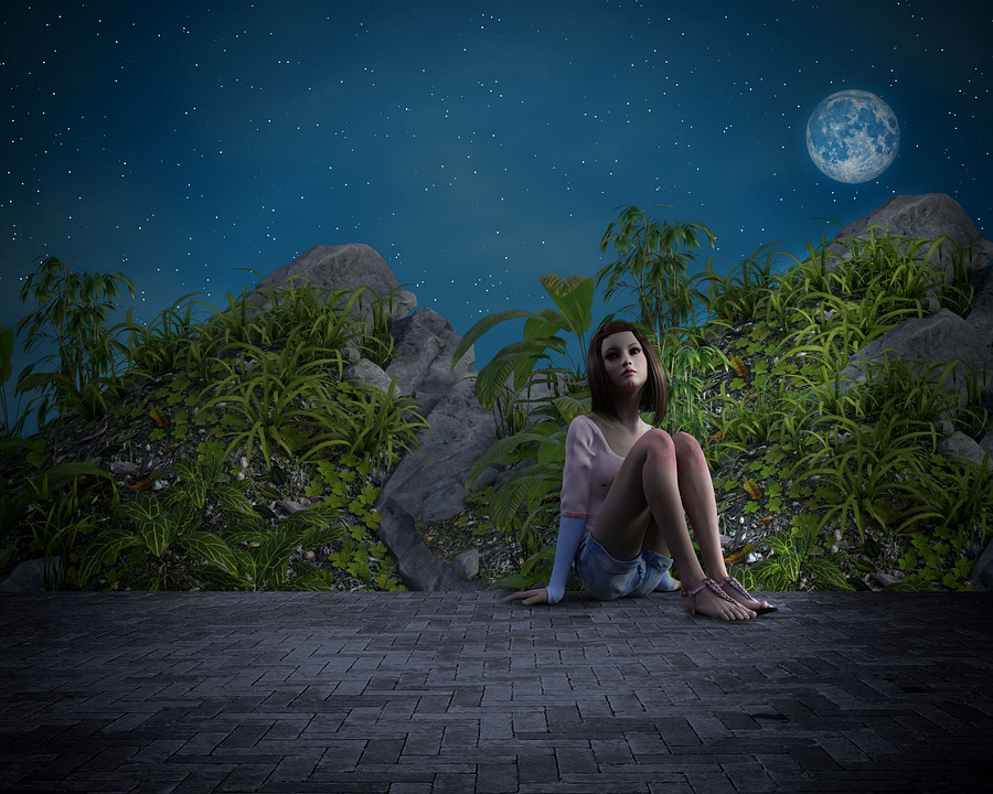 Girl, Fantasy, Night, Mystic, Single, Dark, Moon