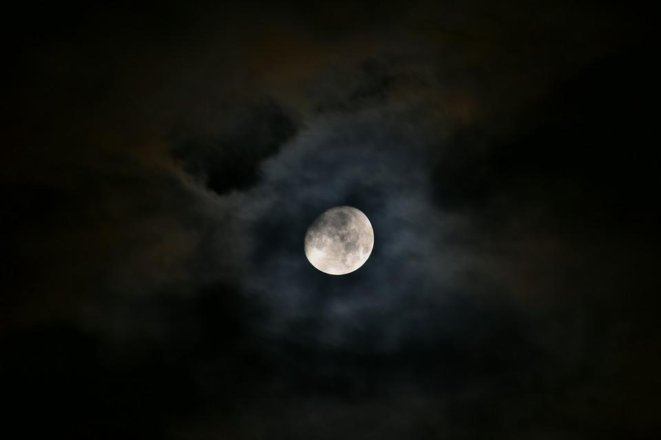 Moon, Night, Moonlight, Dark, Sky, Clouds, Light