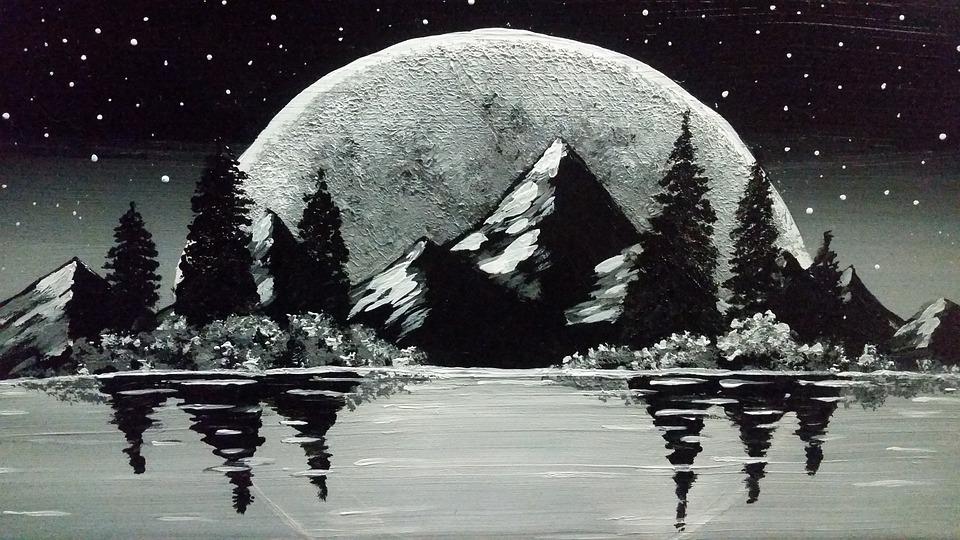 Nature, Moon, Lake, Drawing, Art, Sketch, Full Moon