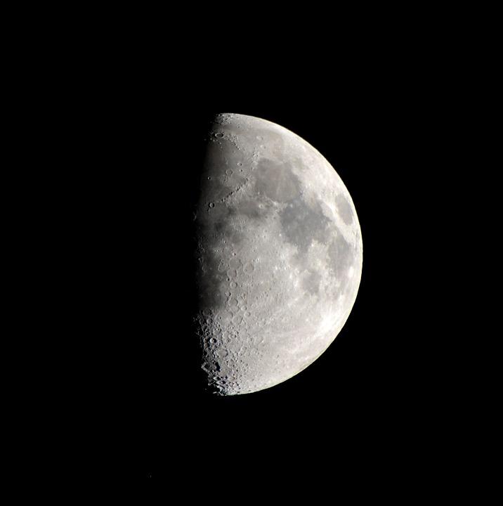 Moon, Celestial Body, Half Moon, Lunar Surface