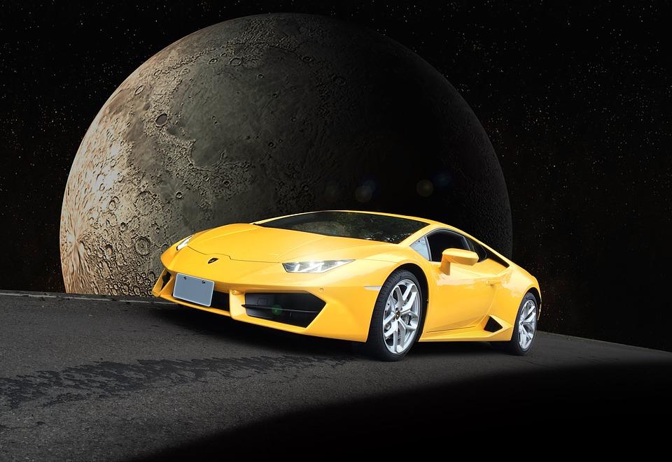 Milky Way, Moon, Lamborghini, Sports Car, Racing Car