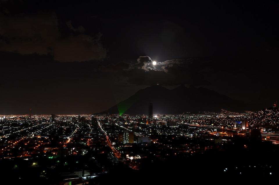 Monterrey, City Lights, Night, Moon, City, Horizon