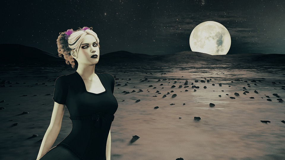 Night, Nightlife, Dark, Moon, Landscape, Woman