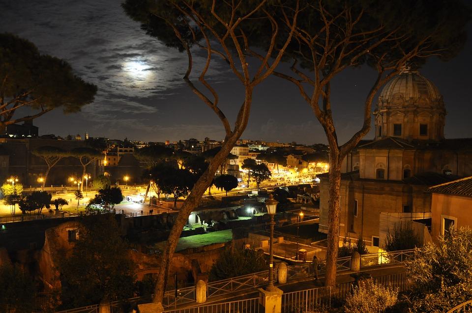 Night, Rome, Moon, St Peter's Basilica, Church, Italy