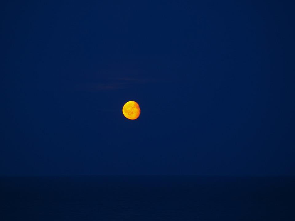 Moon, Sea, Night