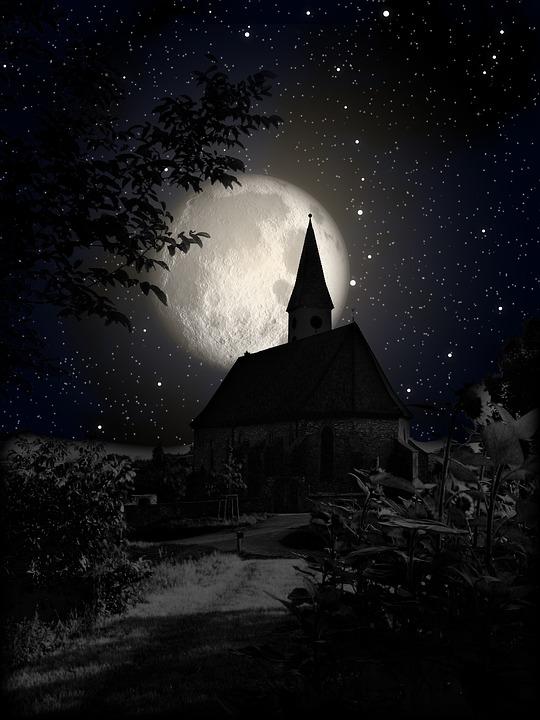 Church, Moon, Night, Shadow, Star, Sky, Gespenstig