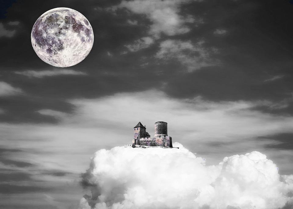 Castle, Cloud, Moon, Sky, Fantasy, Abstract, Fairy Tale