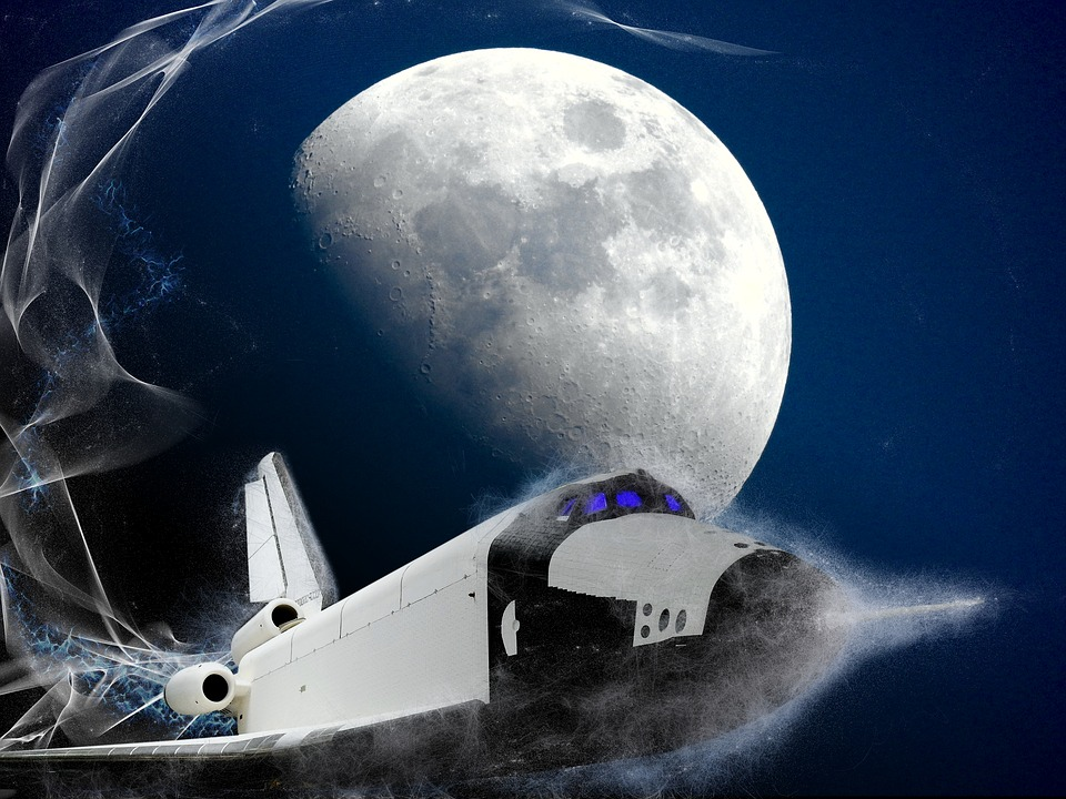 Moon, Space, Shuttle, Space Shuttle, Background