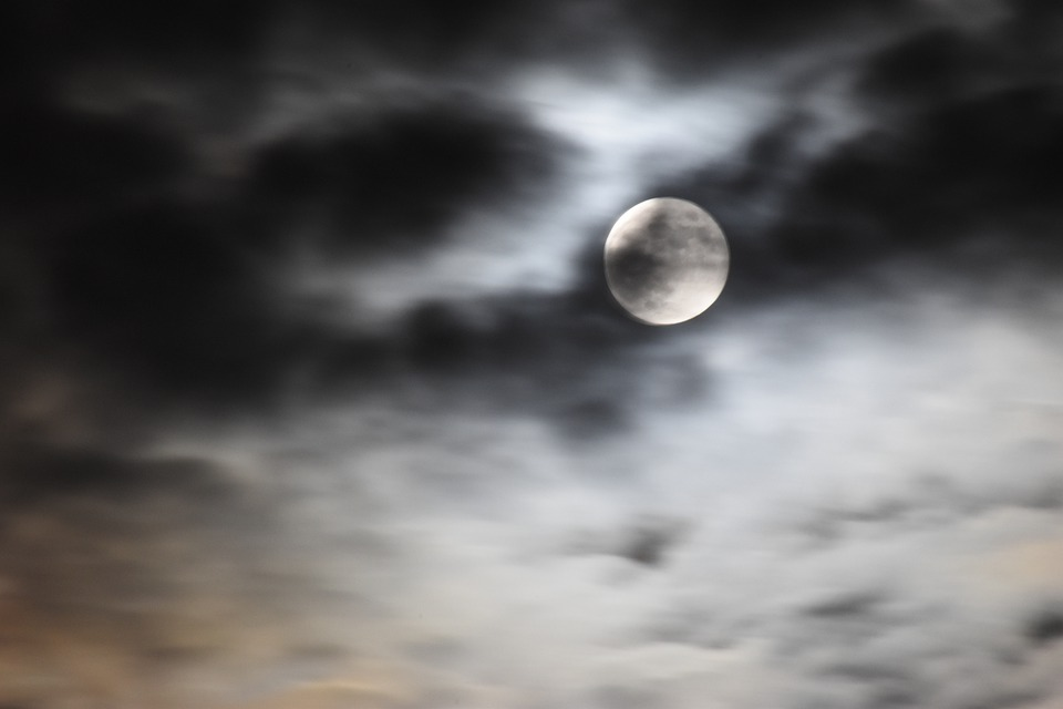 Moon, Sky, Clouds, Dark Clouds, Moonlight, Full Moon
