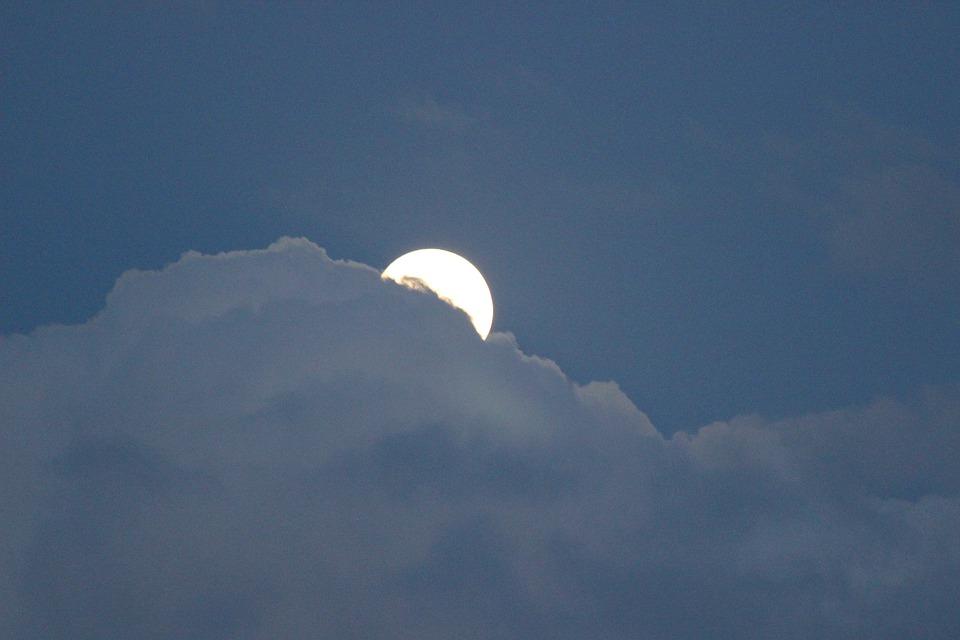 Full Moon, Moon, Clouds, Night, Moonlight, Sky