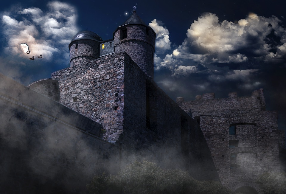 Castle, Mysterious, Moonlight, Mystical, Night Sky