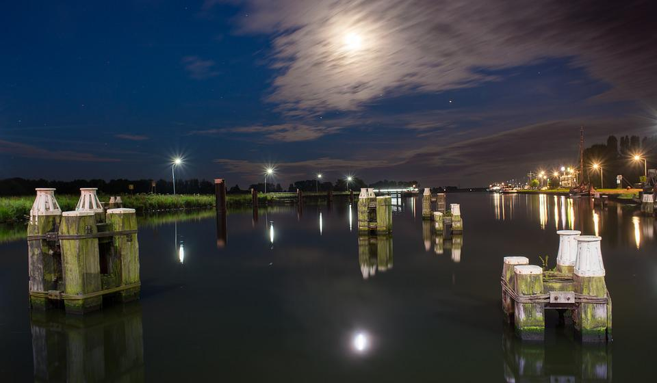 Canal, Night, Moon, Moonlight, Reflection, Water, River