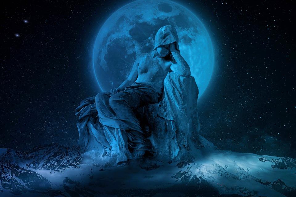 Moon, Universe, Sculpture, Space, Night Sky, Moonlight