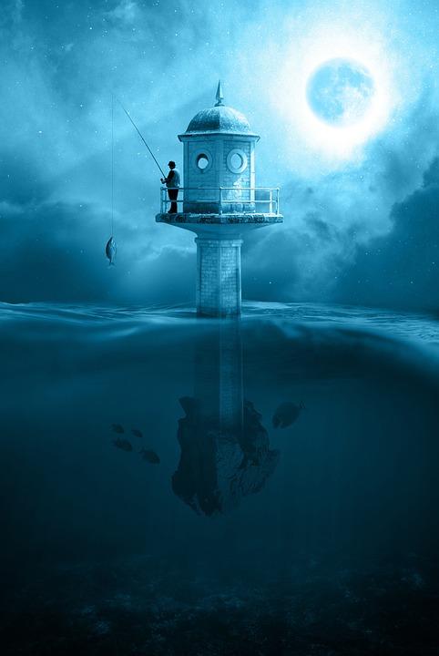 Tower, Fishing, Night, Fishing Rod, Moon, Moonlight