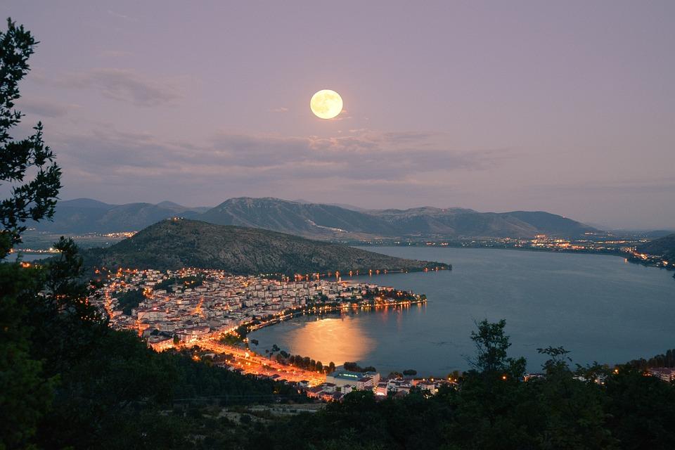 Lake, Moon, Kastoria, Water, Sky, Landscape, Moonlight