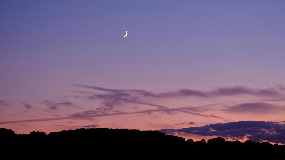 Sunset, Sky, Clouds, Evening, Crescent Moon, Moonrise