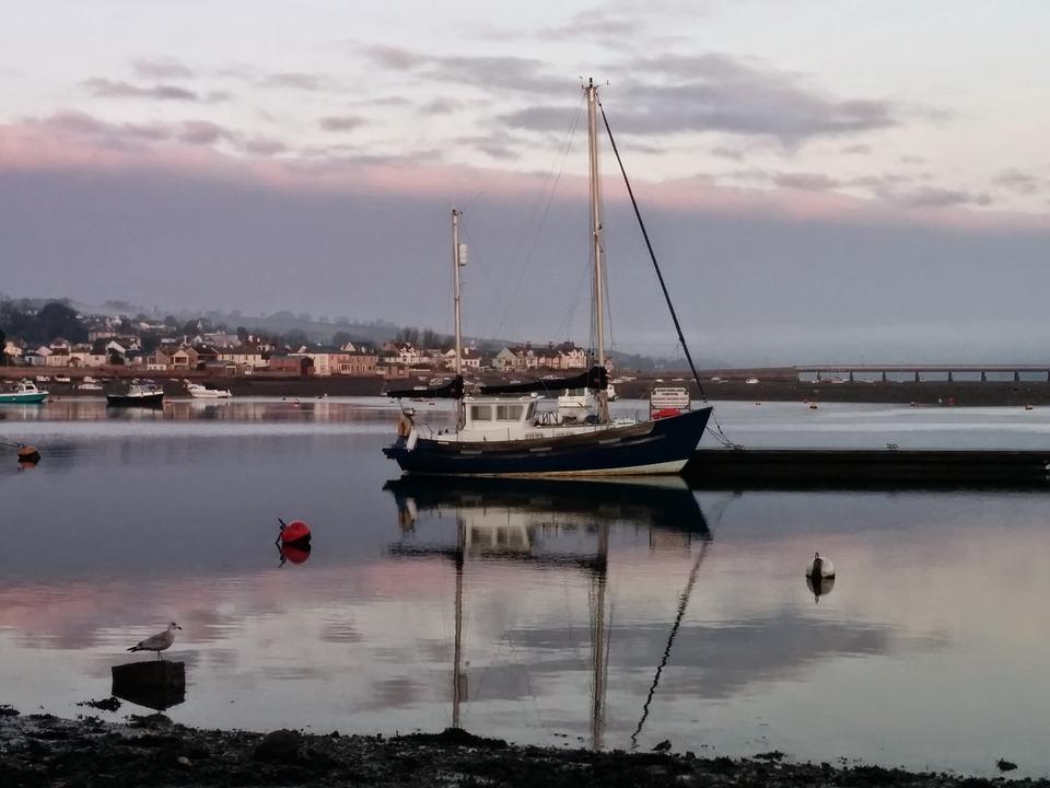 Boat, Teignmouth, Estuary, River, Mooring, Devon, Town