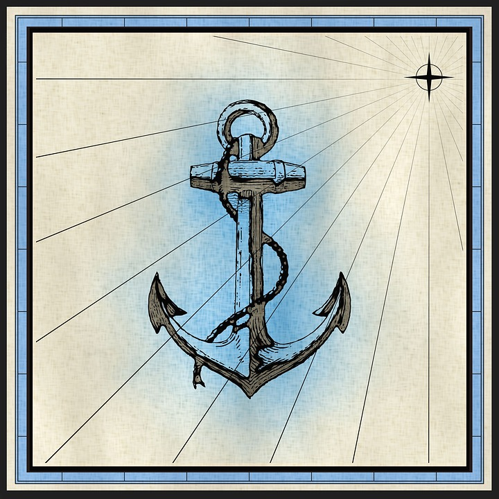 Anchor, Rope, Nautical, Mooring, Cartography, Map