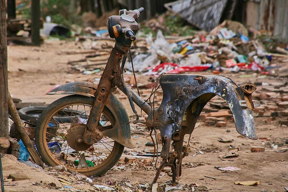 Moped, Broken, Motorcycle, Old, Neglected, Scrap