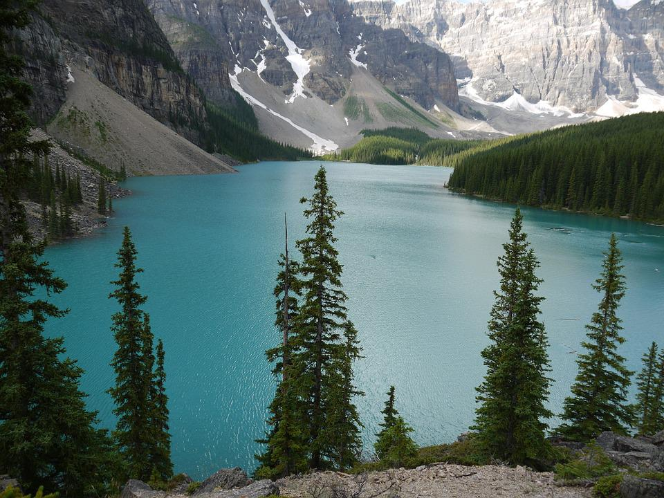Lake, Moraine, Canada, Water, Bank, National Park