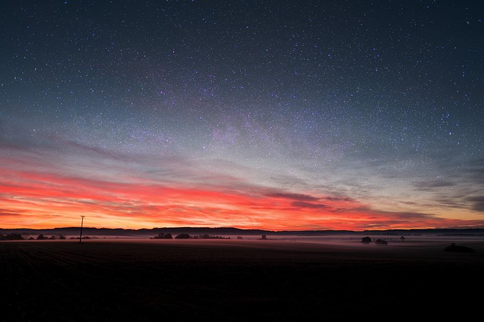 Sky, Star, Fog, Steam, Starry Sky, Morgenrot, Sunrise