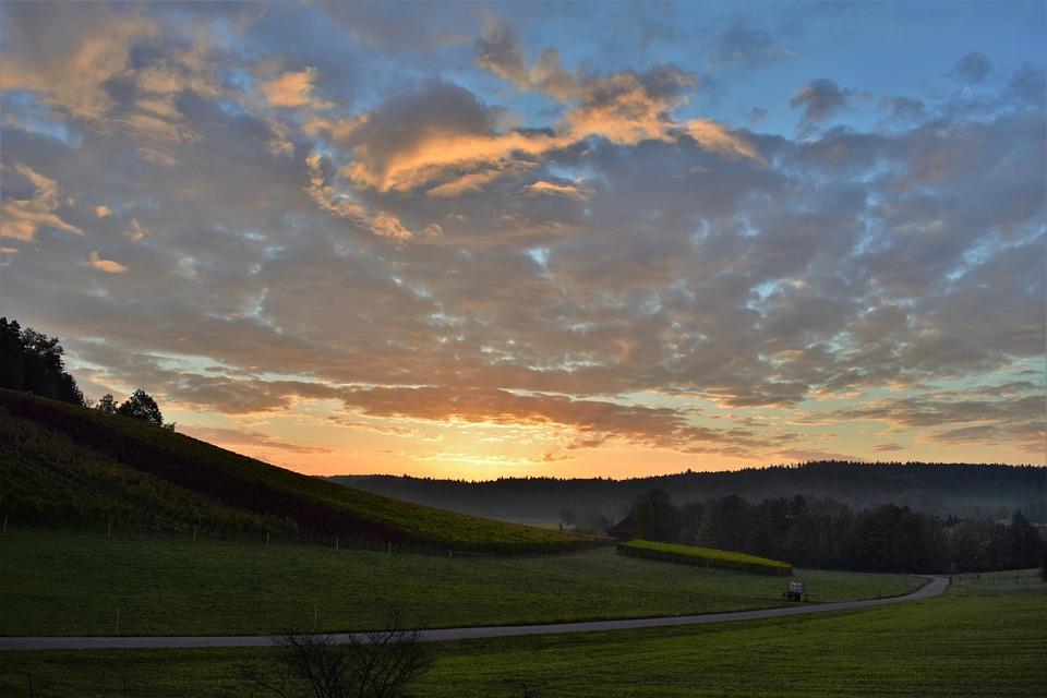 Sunrise, Landscape, Sky, Clouds, Nature, Morgenstimmung