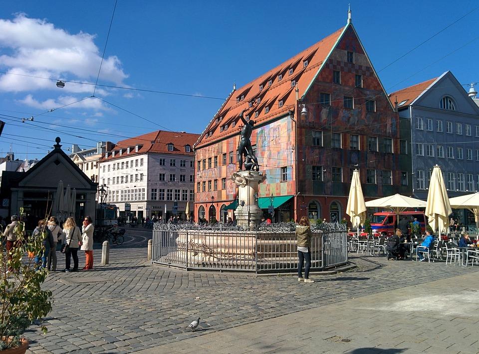 Augsburg, Weberhaus, Moritzplatz, City, Fountain