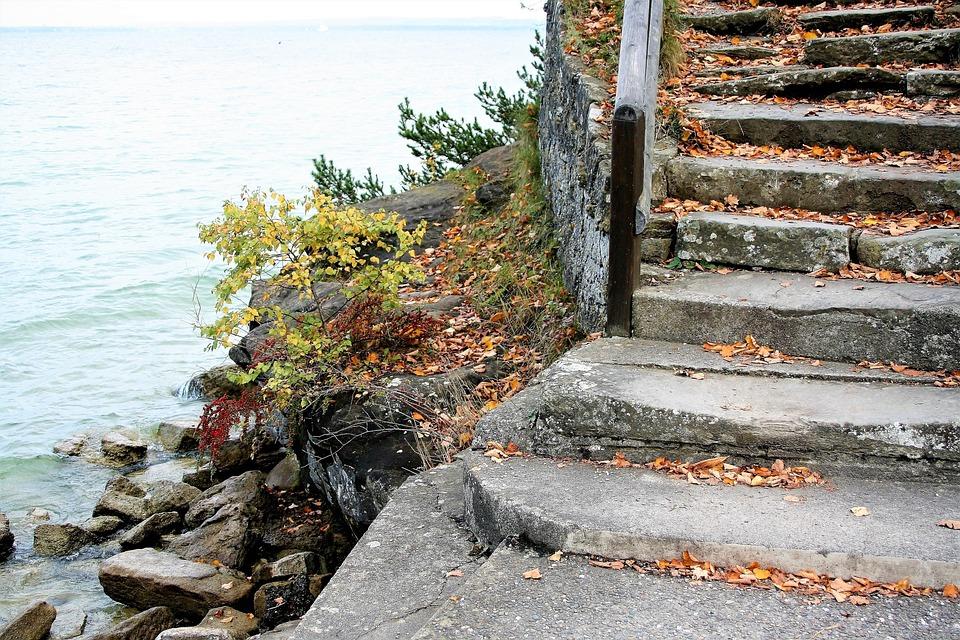 Stone, Stairs, Morning, Autumn, Yellow Leaves, Lake
