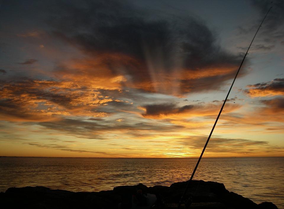 Fishing, Morning Calm, Mediterranean, Sun Rise