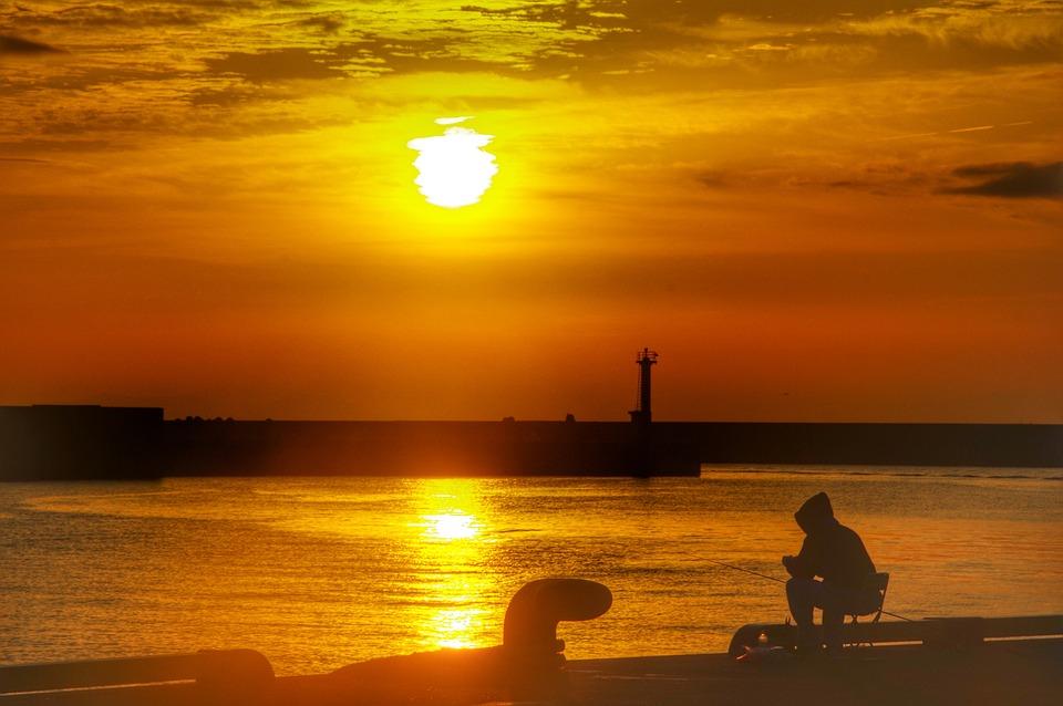 Asahi, Morning, Fishing, Light, Sun, Japan, Cloud, Sea