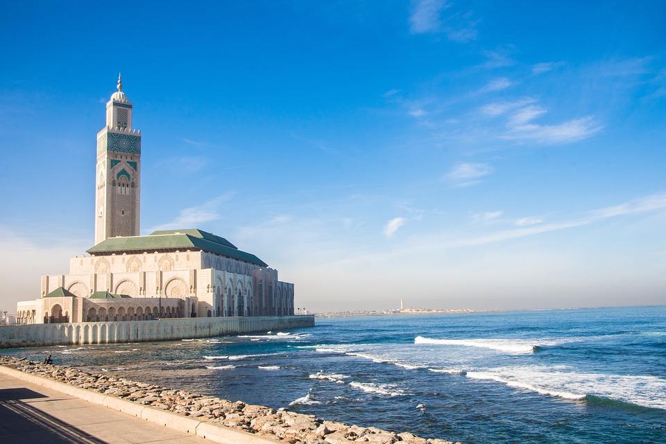 Casablanca, Mosque, Sea, Morocco, Travel, Architecture