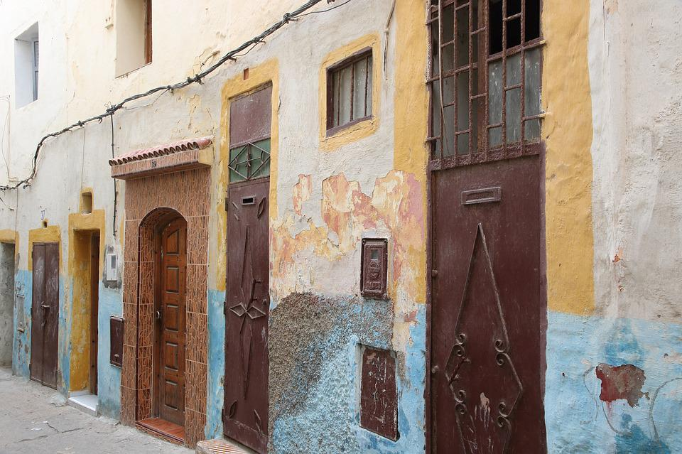 Morocco, Safi, Street, Doors, Alley, Colorful