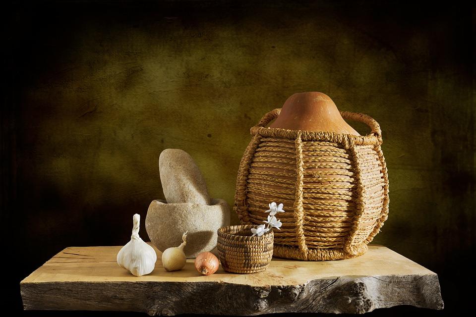 Gourd, Basket, Mortar, Pestle, Garlic, Onion