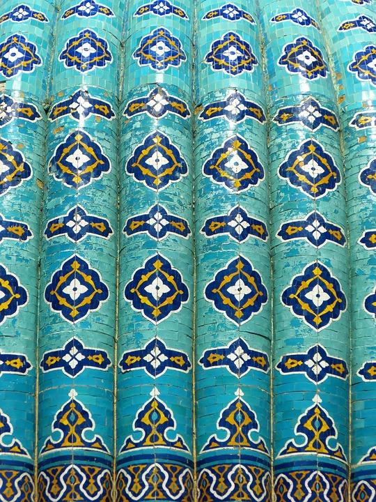 Uzbekistan, Mosaic, Pattern, Artfully, Turquoise