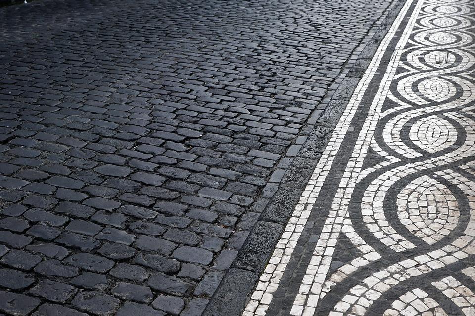 Road, Mosaic, Away, Pattern, Ponta Delgada, Portugal
